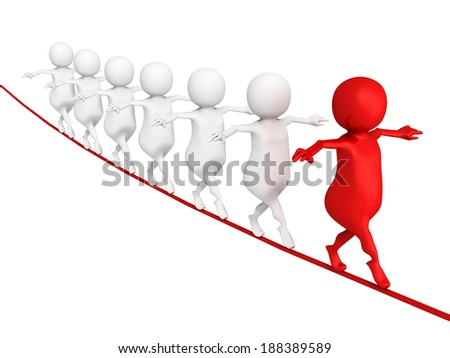 3d leader man with team group walking on wire. business success teamwork concept 3d render illustration - stock photo