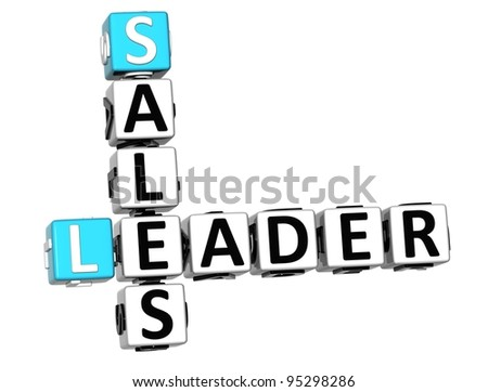 3D Leader Sales Crossword on white background