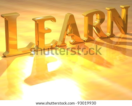 3D Learn Gold text over yellow background - stock photo