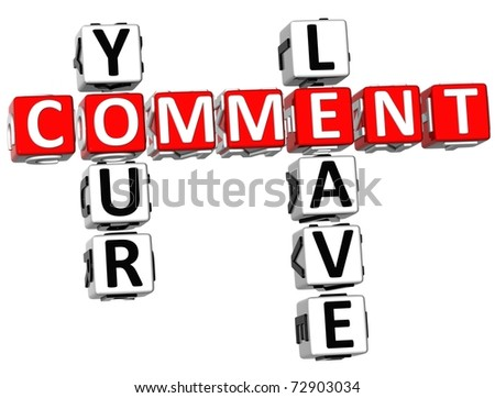 3D Leave Your Comment Crossword on white background - stock photo