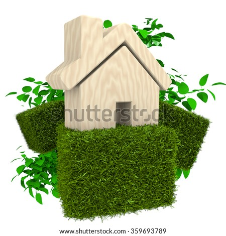 3D LEAVES AND GRASS with HOUSE SYMBOL isolated on white background