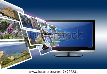 3D LED TV - stock photo