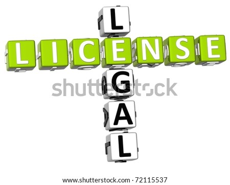 3D Legal License Crossword on white background - stock photo