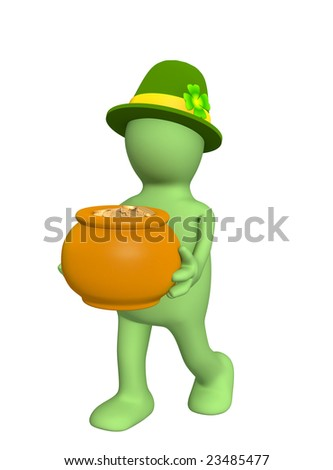 3d leprechaun, carrying pot with gold coins. Over white