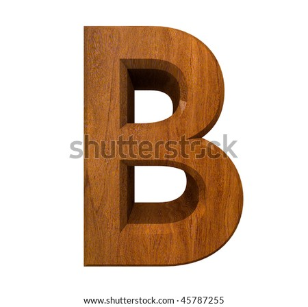 3d letter B in wood - stock photo