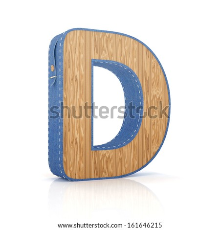 3d letter D from scrapbook alphabet collection isolated on white - stock photo