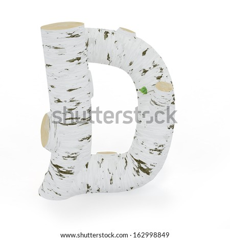 3D letter D from wooden birch collection isolated on white - stock photo