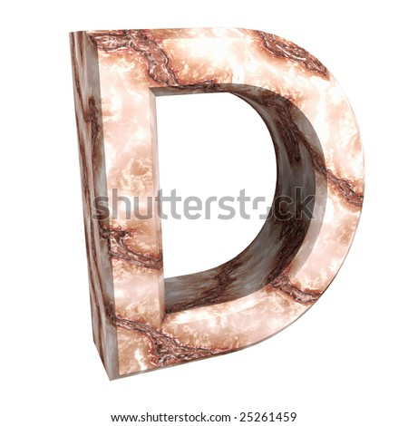 3d letter D in marble - stock photo