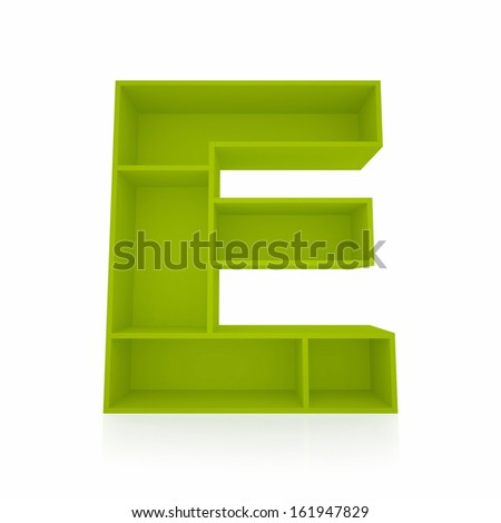 3d letter E from furniture alphabet collection isolated on white - stock photo
