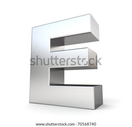 3d letter E from my metal letter collection - stock photo