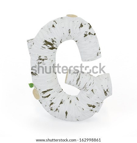 3D letter G from wooden birch collection isolated on white - stock photo