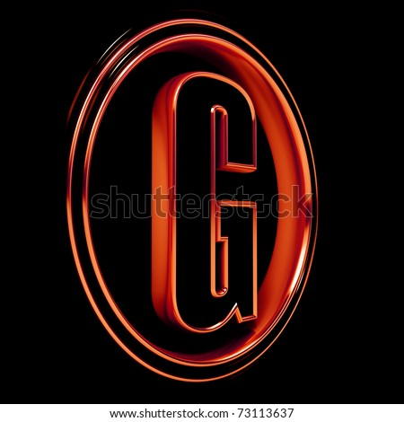 """3D Letter """"G"""" in circle. Red metal. Black background - stock photo"""