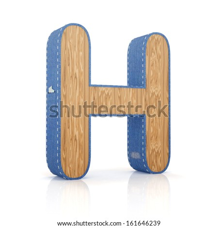 3d letter H from scrapbook alphabet collection isolated on white - stock photo