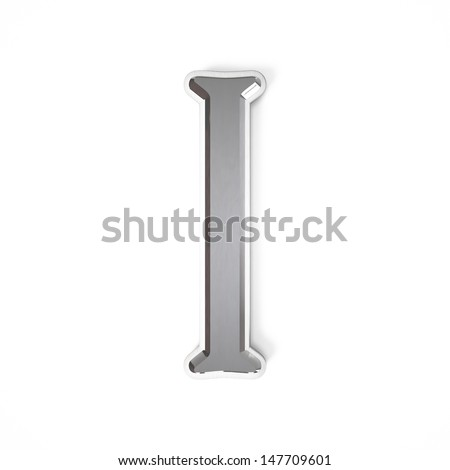 3d letter I whit metal surface isolated on a white background - stock photo