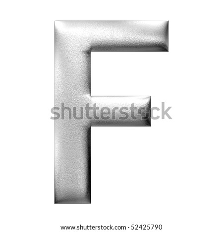 3D letter in silver metal texture and  isolated of background