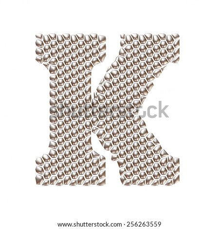 3D letter K dots pattern in silver on isolated white - stock photo