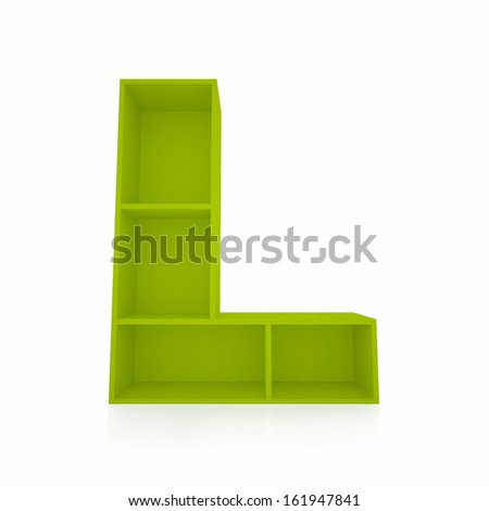 3d letter L from furniture alphabet collection isolated on white - stock photo