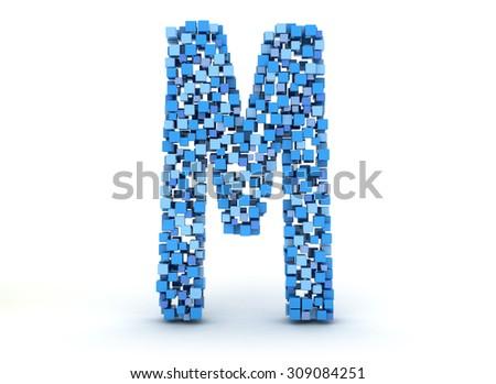 3D letter M build out of cubes - stock photo