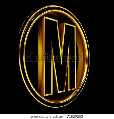 3D Letter m in circle. Black gold metal - stock photo