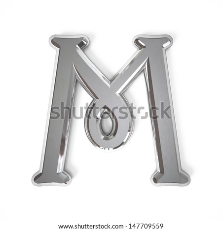 3d letter M whit metal surface isolated on a white background - stock photo