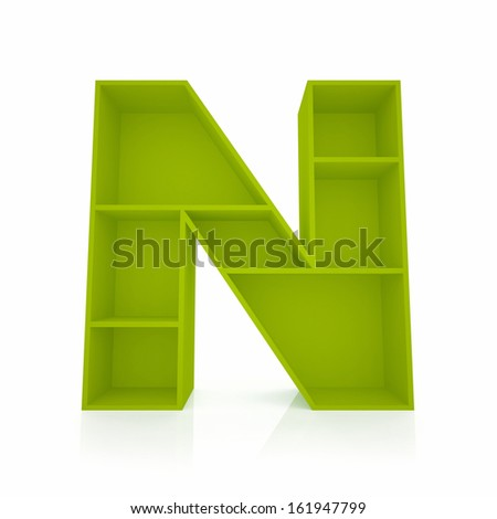 3d letter N from furniture alphabet collection isolated on white - stock photo