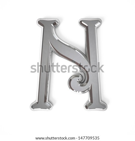 3d letter N whit metal surface isolated on a white background - stock photo
