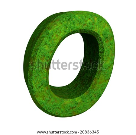 3d letter O in green grass
