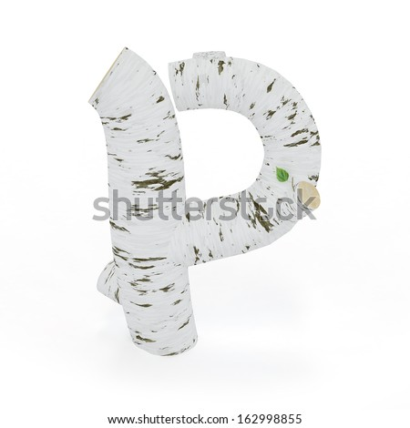 3D letter P from wooden birch collection isolated on white - stock photo