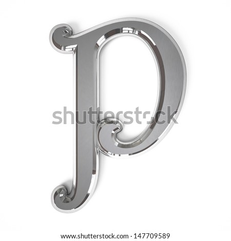 3d letter P whit metal surface isolated on a white background - stock photo