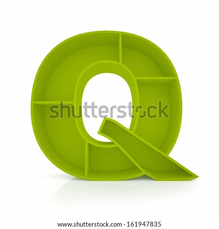 3d letter Q from furniture alphabet collection isolated on white - stock photo