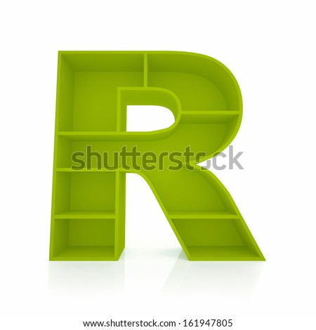 3d letter R from furniture alphabet collection isolated on white - stock photo