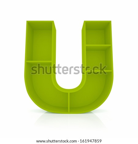 3d letter U from furniture alphabet collection isolated on white - stock photo