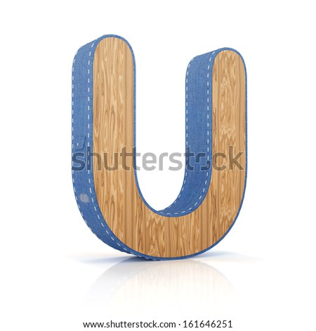 3d letter U from scrapbook alphabet collection isolated on white - stock photo