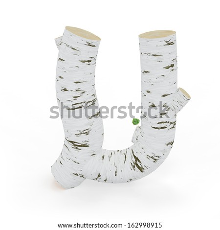 3D letter U from wooden birch collection isolated on white - stock photo