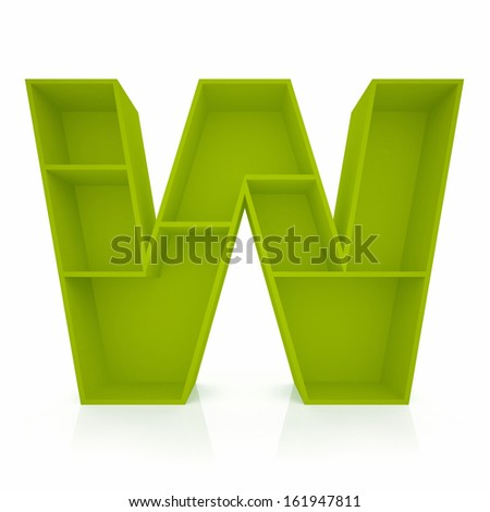 3d letter W from furniture alphabet collection isolated on white - stock photo