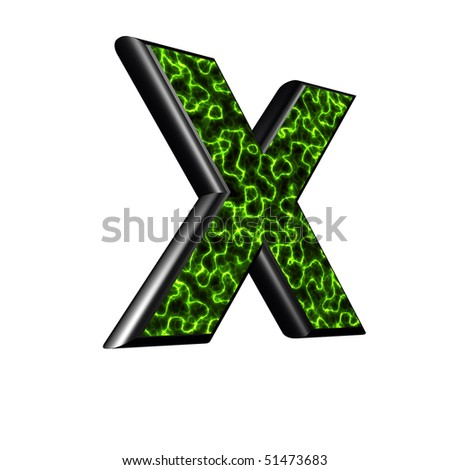 3d letter with abstract green energy texture - X