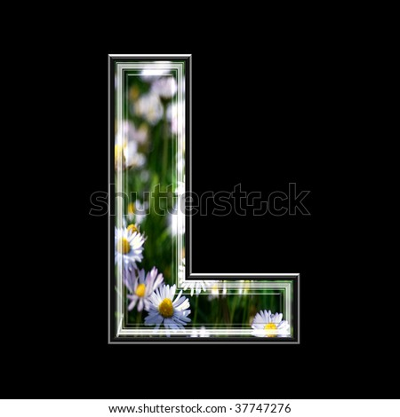 3d letter with flowers and grass