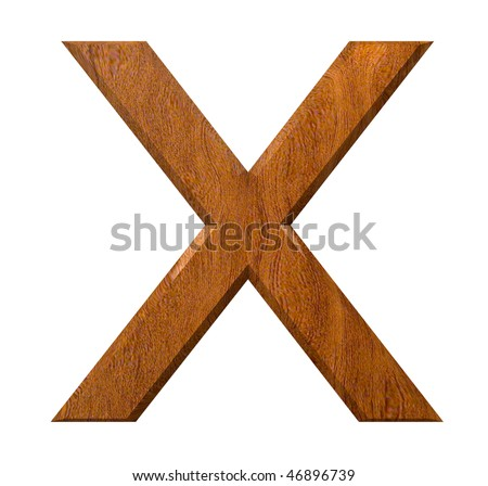 3d letter X in wood - stock photo