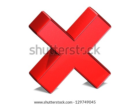 3D Letter X Red Sign on white background - stock photo