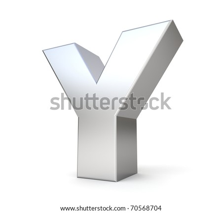 3d letter Y from my metal letter collection - stock photo
