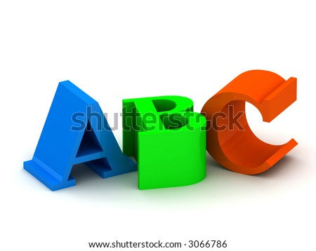 3D letters ABC (The image can be used as background for printing and web). Alphabet elements.  - stock photo