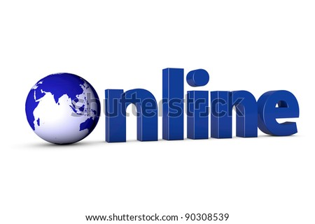 3D letters forming the word Online with a blue globe