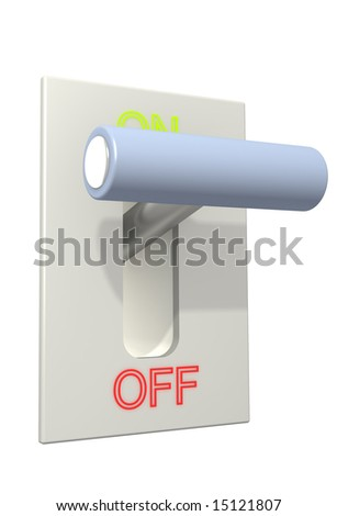 3d lever on position on. Object over white - stock photo