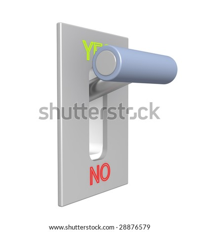 3d lever on position yes - stock photo