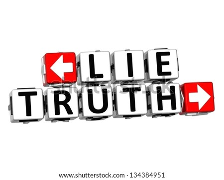 3D Lie Truth Button Click Here Block Text over white background - stock photo