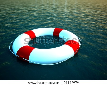 3d life ring floating on water, help symbol - stock photo