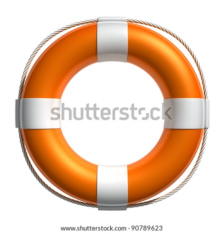 3D Lifebuoy  isolated on white (with work path) - stock photo