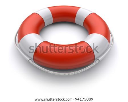 3d lifebuoy on a white background - stock photo