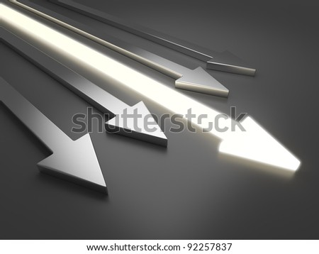 3D light arrow. Competition concept. On gray background - stock photo