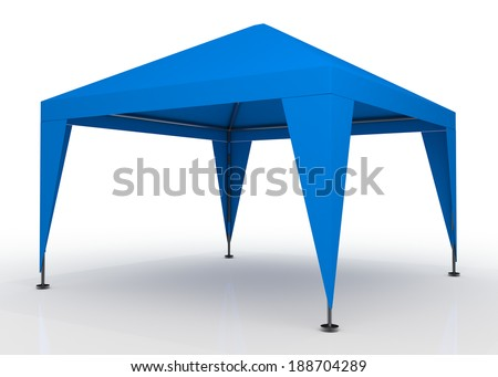 3D light blue canopy, tent for outdoor activity and canvas, pipe structure in isolated background with work paths, clipping paths included - stock photo
